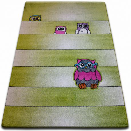 Teppich KIDS Eulen grün C412