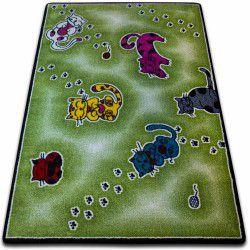 Teppich KIDS Katzen grün C428