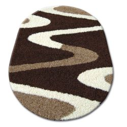 Teppich oval SHAGGY ZENA 3310 dunkel braun / elfenbein