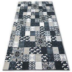 Teppich LISBOA 27218/356 Quadrate Platte Schwarz Portugal