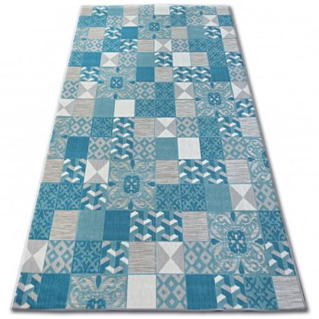 Teppich LISBOA 27218/454 Quadrate Platte Türkis Portugal