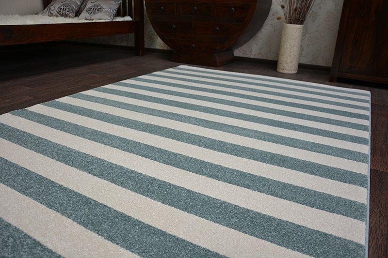 8 Größen Modernen Weich Teppich SKETCH F758 Türkis Gestreift Streifen Stripe