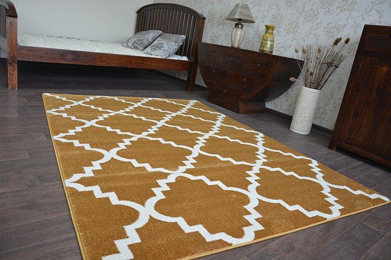 8 Größen Modernen Weich Teppich SKETCH F343 Gold Sahne Trellis Marokkanisc Klee