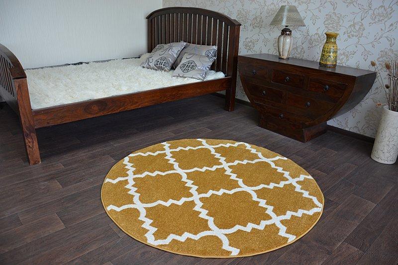 Modernen Weich Teppich SKETCH TRELLIS F343 Kreis gold//creme angenehm modisch