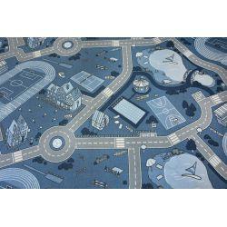 Antirutsch Teppich Teppichboden für Kinder STREET blau