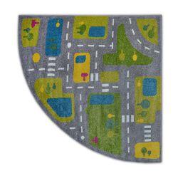 Teppich PAINT Viertelkreis G4777 - Straßen grau/sahne