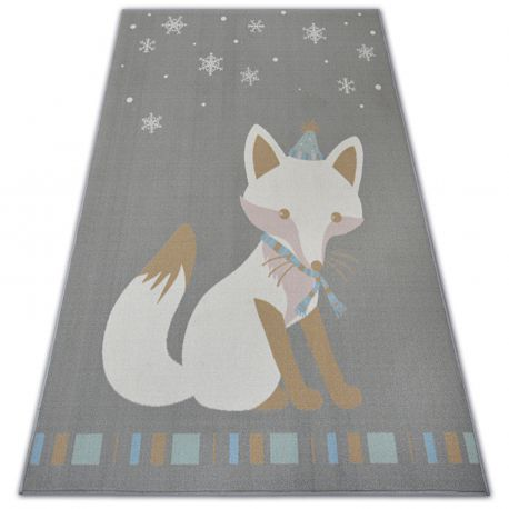 Teppich für Kinder LOKO Fuchs grau Antirutsch