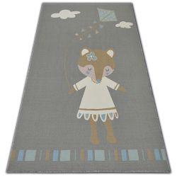Teppich für Kinder LOKO Maus grau Antirutsch