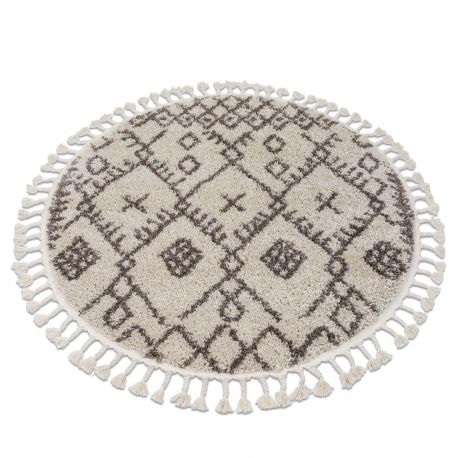 Teppich BERBER TANGER B5940 Kreis sahne / braun Franse berber marokkanisch shaggy