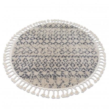 Teppich BERBER AGADIR G0522 Kreis sahne / grau Franse berber marokkanisch shaggy