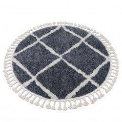 Teppich BERBER CROSS B5950 Kreis grau / weiß Franse berber marokkanisch shaggy