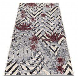 Teppich HEOS 78540 creme / rotwein Blätter
