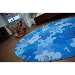 Teppich kreis PUZZLE blau
