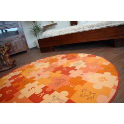 Teppich kreis PUZZLE orange