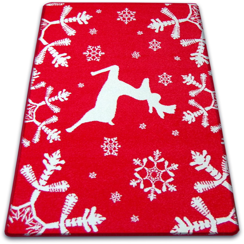 Details About Modern Rugs Red Cream Xmas Christmas Star Reindeer Snowflake