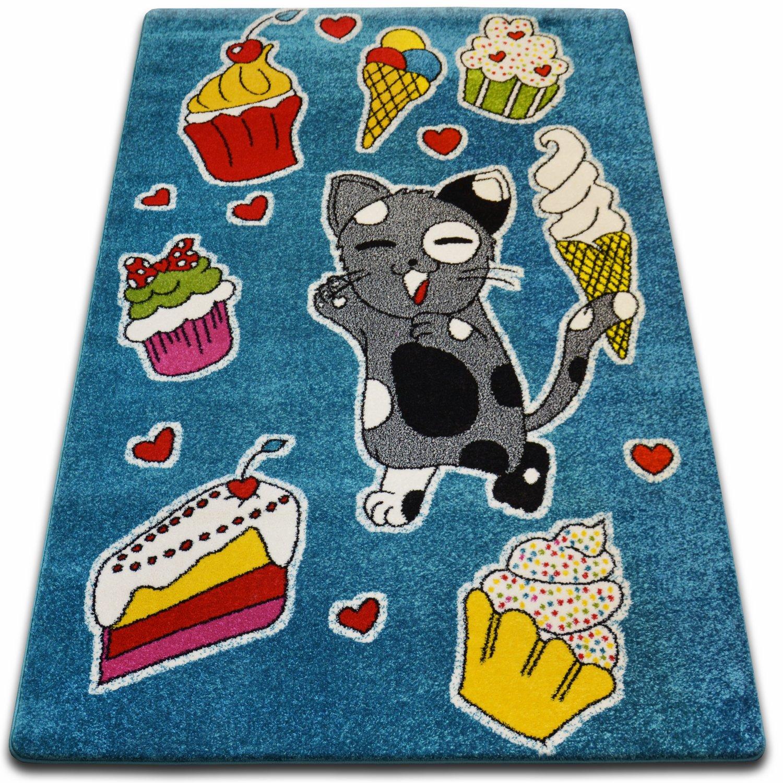 Teppiche Weich und dicht Kinder Teppich KIDS C415 blau Kuchen Katze ...